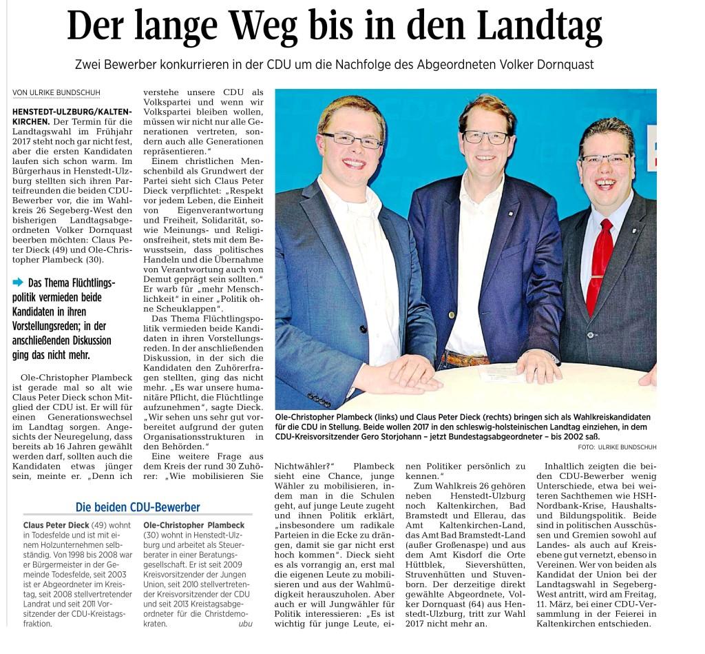 Bericht der Segeberger Zeitung vom 13.02.2016